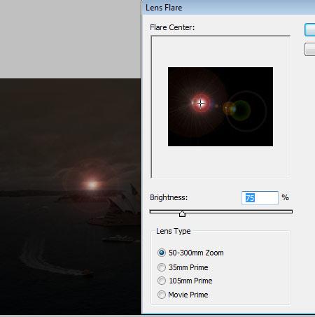 Фильтр – Рендеринг – Блик (Filter > Render > Lens Flare).