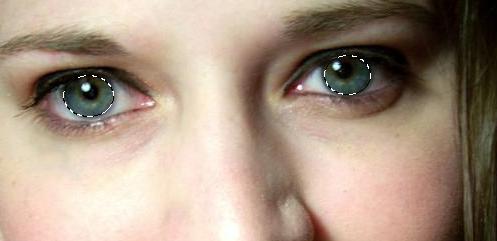 переходим к первому слою и выделяем глаза