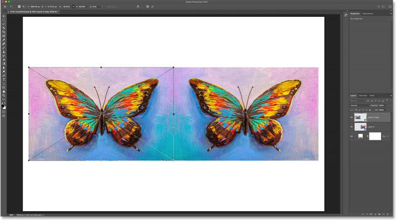 Перемещение по горизонтали со стороны создает зеркальную копию изображения
