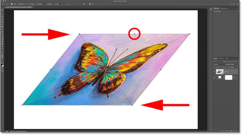 Удерживая Alt (Win) / Option (Mac), можно одновременно наклонить противоположные стороны